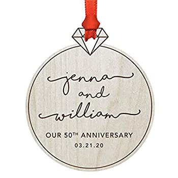 Andaz Press Personalized Engraved Real Natural Wood Rustic Farmhouse Keepsake Christmas Ornament Gift Diamond Ring Our 50th Wedding Anniversary Date 2021 1-Pack Custom Includes Ribbon and Gift