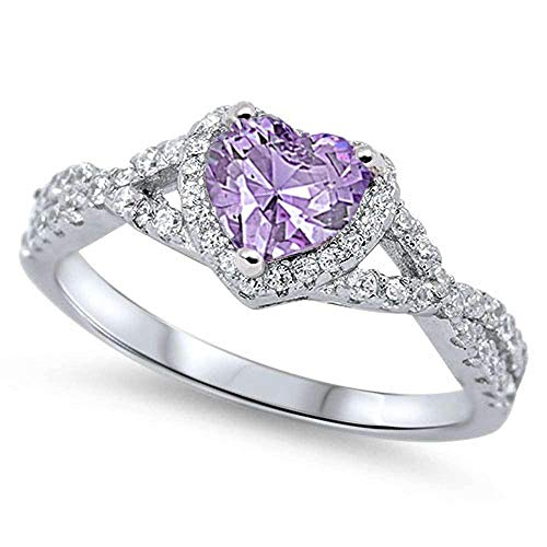 Oxford Diamond Co Sterling Silver Lavender Heart Cubic Zirconia .925 Sterling Silver Ring Sizes 8