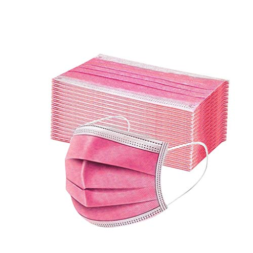 Sumeiwilly 50 Stück Einmal-Mundschutz, Staubs-chutz Atmungsaktive Drucken Mundbedeckung, Erwachsene, Bandana Face-Mouth Cover Halstuch Schlauchschal (Wassermelonenrot)