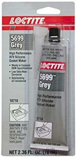 Loctite 18718 5699 Grey High Performance RTV Silicone Gasket Maker, -75 to 625 Degree F Temperature Range, 2.367 fl. oz. Tube