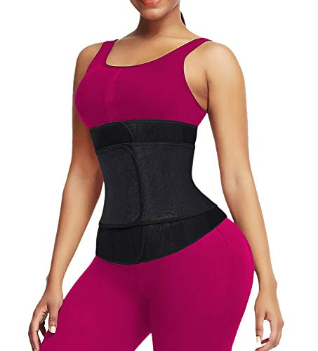 QEESMEI Waist Trainer for Women Sauna Sweat Embossed Neoprene Waist Trimmer for Weight Loss (Black-1strap,XX-Large)