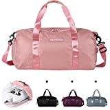 Sports Gym Bag, Large Capacity Waterproof Sports Duffel Bag with Shoe Compartment and Wet Pocket , Lightweight Men Women Gym Bag Holdall bag , Perfect for Camping, Travel, Swimming, Hiking. (pink)