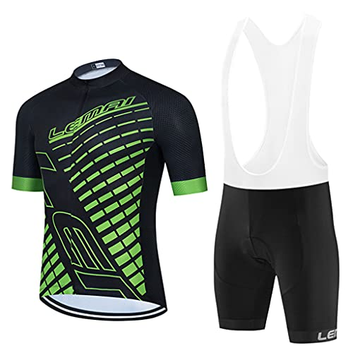 Gnaixyc Summer Cycling Clothing Set, Cycling Jersey + 3D Gel Padded Riding Tights Shorts, Mountain Bike Short Sleeve Cycling Suit, Breathable Quick-Dry Running Racing Bicycle Suits,E,M