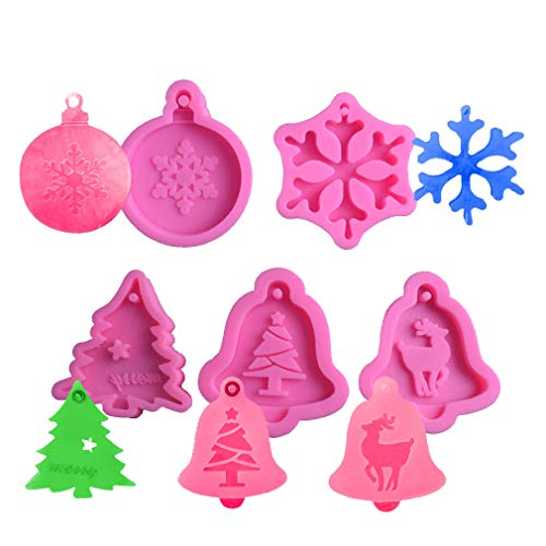 5 Pcs Mini Christmas Snowflake Xmas Tree Elk Bell Silicone Mold with Hole Jewelry Pendant for DIY Chocolate Candy Fondant Cake Decor Wax Crayon Melt Plaster Resin