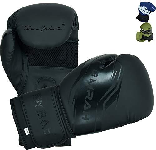 EMRAH Boxing Gloves Sinner Series Matte Hide Leather Boxing Training Gloves Matte Black 10 OZ