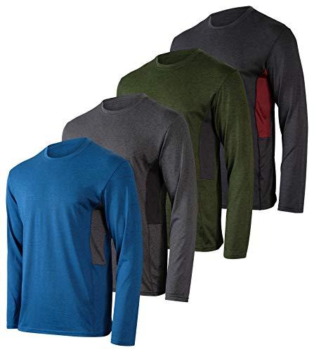 Paquete de 4 piezas: Camiseta de Manga Larga para Hombre Dry-Fit que Absorbe la Humedad, Protección Solar UV, Camiseta Atlética con Cuello Redondo para Actividades en Exteriores, L
