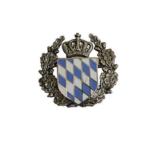 Hutanstecker | Hutabzeichen | Hutschmuck | Trachten-Anstecker – Bayrisches Wappen – 3 x 3 cm - Einsatz mit Ehrenkranz