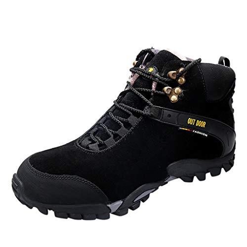 HDUFGJ Herren Hohe Hilfe Trekking- & Wanderhalbschuhe Schneeschuhe Plus Samt Outdoor-Schuhe rutschfeste Wasserdicht Verschleißfest Freizeitschuhe Flache Schuhe Wanderschuhe42 EU(Schwarz)