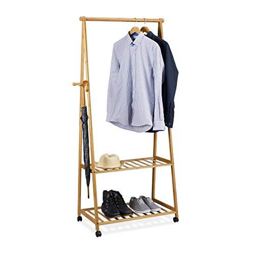 Relaxdays Kleiderständer auf Rollen, Bambus, 2 Schuhablagen, Kleiderstange, HxBxT 166 x 84 x 45 cm, Rollgarderobe, natur