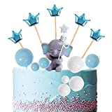Newmemo 14pcs Blue Elephant Cake Topper with Baby Elephant, Pearl Balls and Crown Cake Picks, Elephant Cake Decoration for Elephant Theme It's a Boy Little Peanut Baby Shower Birthday Party Supplies