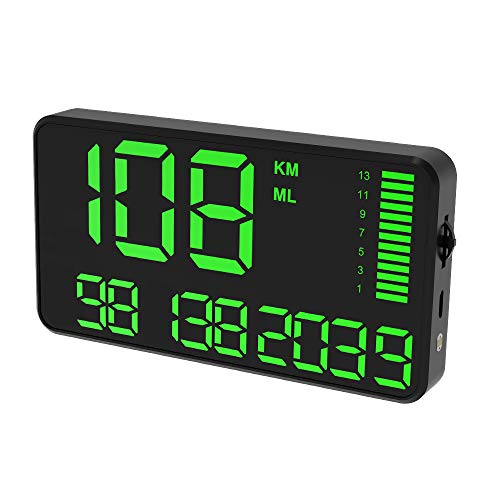 Digital Universal GPS HUD Speedometer Display GPS Head Up Dispaly Speedometer Car Truck Odometer with Over Speed Warning/Car Clock / 5.4in Large Screen KingNeed C90