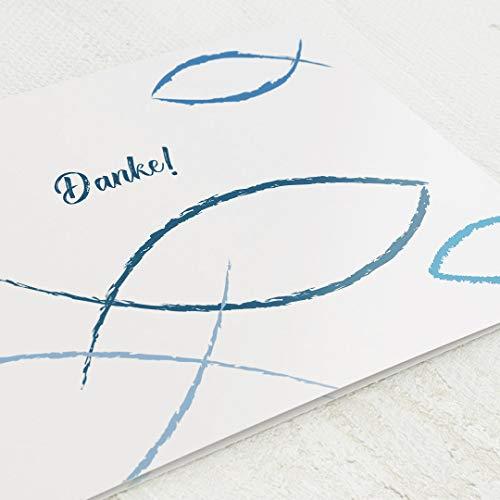 sendmoments Danksagungskarten Konfirmation, Danke Karte, Christlich Blau, 5er Klappkarten-Set C6, personalisiert mit Wunschtext & persönlichen Bildern, optional mit passenden Design-Umschlägen