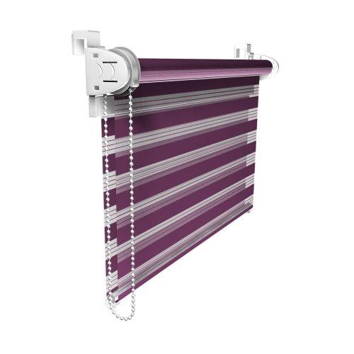 Victoria M. Duo Klemmfix - Estor Doble (fijación sin perforar), Color púrpura, tamaño 70 x 230 cm