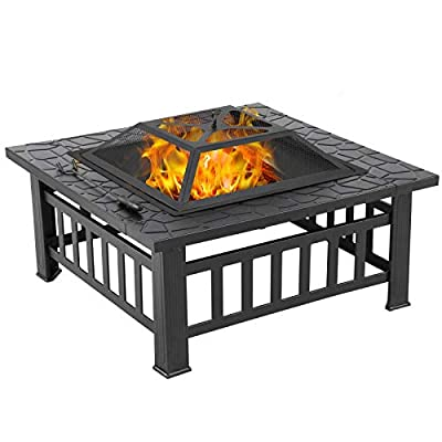 Yaheetech 32in Outdoor Fire Pit Metal Square Firepit Wood Burning Backyard Patio Garden Beaches Camping Picnic Bonfire Stove with Spark Screen, Log Poker and Cover
