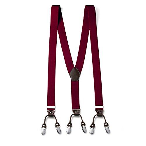 FYDRISE Tirantes Y-Forma con 6 Clips Hombre Clásico Elásticos Ancho 35mm Espalda Cuero Marrón Longitud 120cm