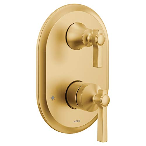 Moen UTS2411BG Flara M-CORE 3-Series 2-Handle Shower Trim with Integrated Transfer, Valve Required, Brushed Gold