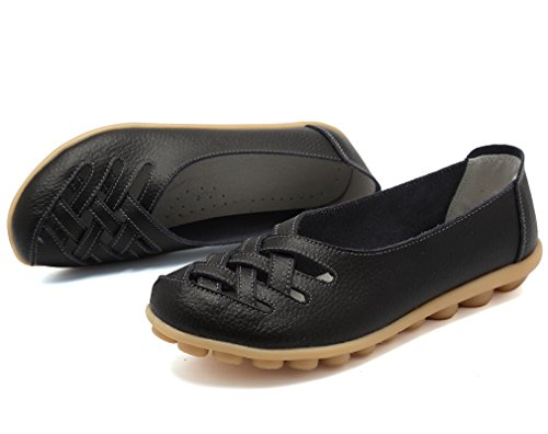 KEESKY Comfortable Shoes for Womens Ladies Leather Casual Cut Out Loafers Flat Slip-on Shoes Black Size 8.5
