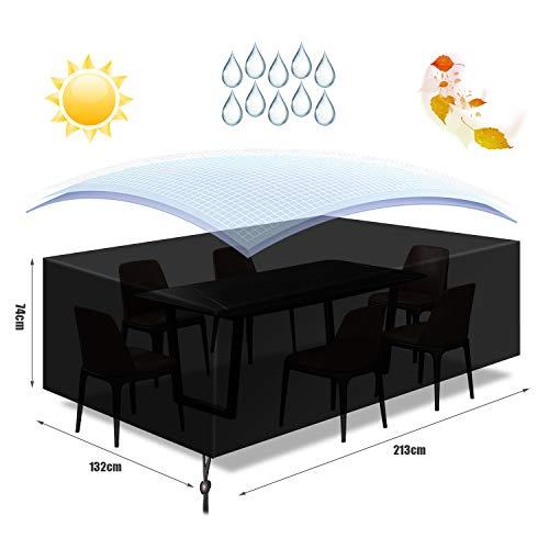 Funda para Muebles Impermeable,Funda Mesa Jardin,Cubierta para Exterior Funda Protectora Muebles Mesas Sillas Sofás Exterior 420D Oxford Impermeables Anti-Viento/UV( 213x 132 x 74CM)-Negro