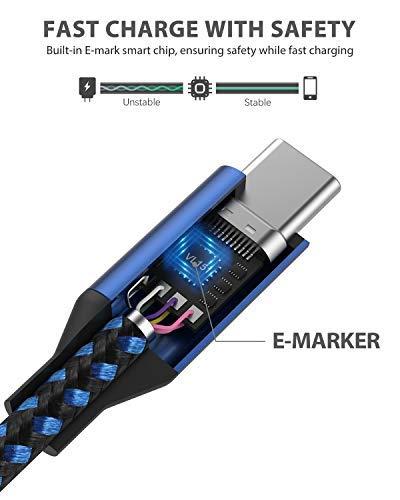 Nimaso USB C auf USB C Kabel, USB Typ C 100W 20V/5A PD Schnellladekabel mit E-Mark Chip Ladekabel und Datenkabel für MacBook, MacBook Pro, iPad Pro 2018, MacBook Air, ChromeBook Pixel, Galaxy S8/S8+