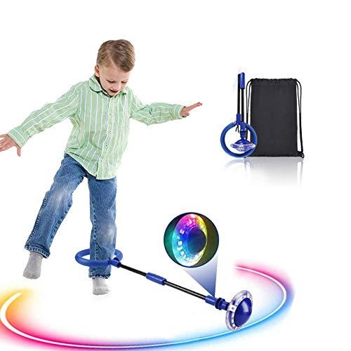 Boyigog Bola de Salto de Tobillo, LED Swing Bolas, Balones Saltadores, Aro de Salto Luminoso Plegable Apto para Que Niños y Adultos Hagan Ejercicio en Casa(Azul-brillará)