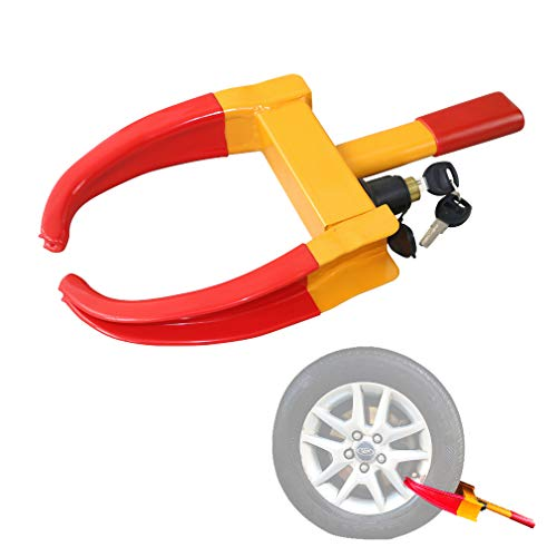 "Wheel Clamp Lock Universal Security Tire Lock Anti Theft Lock Fit Most Vehicles, Max 10"" Tire Width And 7.5"" Reach, For Trailers Suv Boats Atv'S Motorcycles Golf Cart Great Deterrent Bright Yellow/Red"