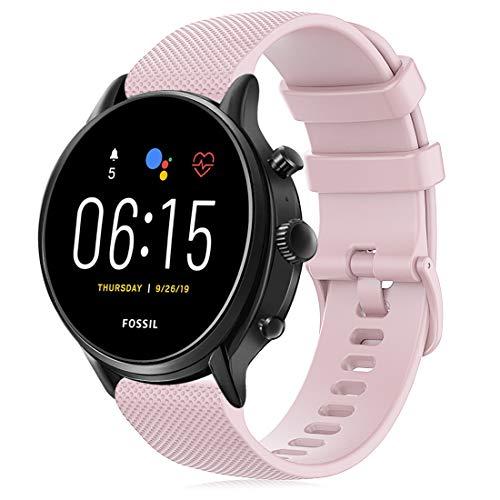 RIOROO Armband Kompatibel für Fossil Gen 5 / 4 smartwatch herren,Kompatibel für Garmin Vivoactive 4 Armband 22mm Silikon Sport Ersatzarmband, Pink Zubehör (Keine Uhr)