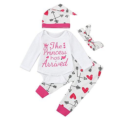 Pingtr Babybekleidung Baby Top T-Shirt + Hose,Kleinkind Neugeborenes Baby Mädchen Brief Pfeil Strampler Overall Hosen 4 STÜCKE Outfits Set
