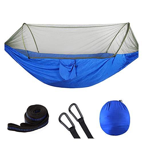 WUHUAROU Hamaca de camping con mosquitero, portátil, de configuración rápida, para colgar cama de 250 x 120 cm al aire libre (color: azul)