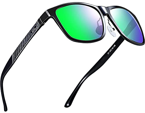 ATTCL Herren Polarisierte Fahren Sonnenbrille Al-Mg Metall Rahme Ultra Leicht (8587 Grün)