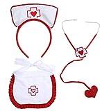 ABOOFAN Costume d'infirmière pour Halloween, déguisement d'infirmière, bandeau, tablier...