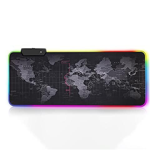 Flystcn Juego Mouse Pad RGB Almohadilla de Teclado Alfombrilla de Mouse Mousepad Grande con Base de Goma Antideslizante para el Juego de la Oficina en casa (Color : RGB World Map, tamaño : 30x80 cm)