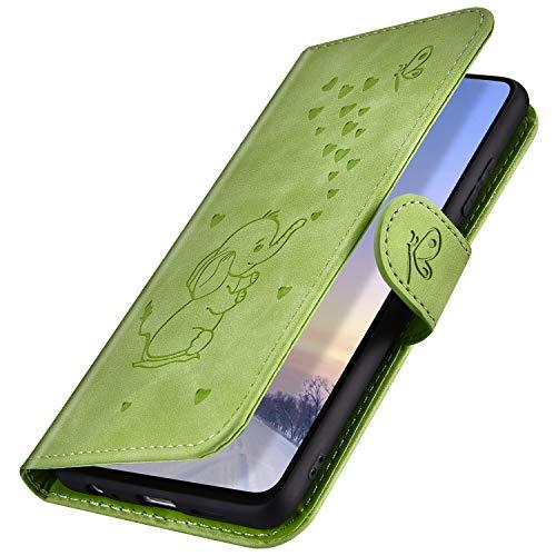 MoreChioce kompatibel mit Huawei P9 Lite Hülle,kompatibel mit Huawei P9 Lite Hülle Leder Flip Case,Niedlich Grün Elefant Muster Ledertasche Handyhülle Brieftasche Klapphülle Magnetische