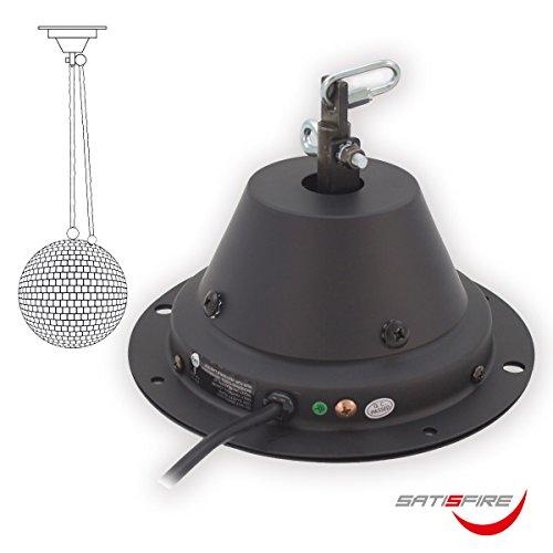 Sicherheits Spiegelkugel Motor SATISFIRE MBM 5010 | Drehmotor mit Super Silent Technology | 1,5 bis 2 Umdrehungen/Minute | Traglast 10kg nach BGV-C1 Faktor 12 | bis 50cm Kugeln| incl. Absturzsicherung