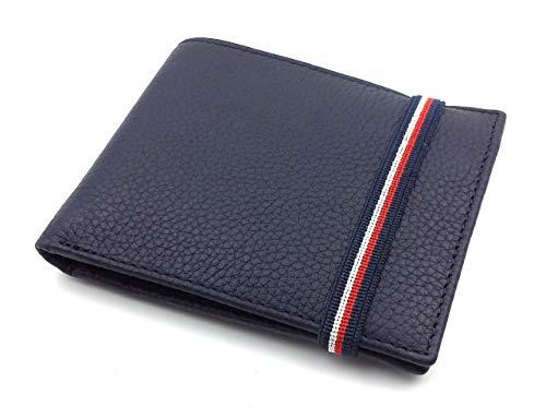 franartPiel - Cartera, billetera, tarjetero, monedero tipo americano Piel Ubrique con cierre de elástico - Alta Calidad - Azul Marino