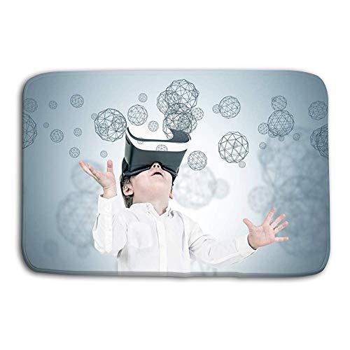 LiminiAOS Küchenboden Bad Eingangstürmatten Teppich Süßer Kleiner Junge vr Brillen Polygone Süßer Kleiner Junge Weiße Jeans mit vr Brille Blick nach Oben Grau rutschfeste Badezimmermatten