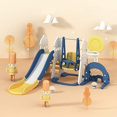 Juego De Columpios Y Toboganes 5 En 1 para Niños Pequeños Escalador Independiente Parque Infantil Seguro Centro De Actividades para Interiores con Aros De Bolas Ajustables,A