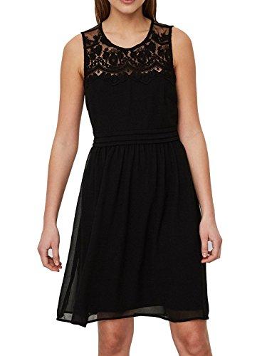 VERO MODA Damen VMVANESSA SL Short Dress NOOS Kleid, Schwarz (Black Black), 34 (Herstellergröße: XS)