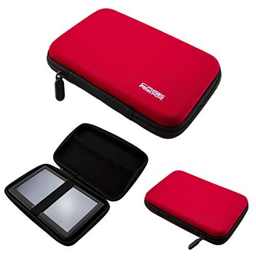 caseroxx GPS väska för SNOOPER S6810 buss och coach, (GPS-väska med reslås och gummistöd i rött)