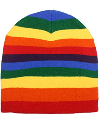 Rainbow Stripe Stripped Multi Color Knit Beanie Stocking Cap Winter Hat