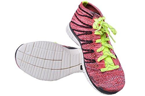 Nike Women's Free Flyknit Chukka Running Shoes (6 B(M) US, Black/Volt-Hyper Punch Noir/Volt-hyprpc)