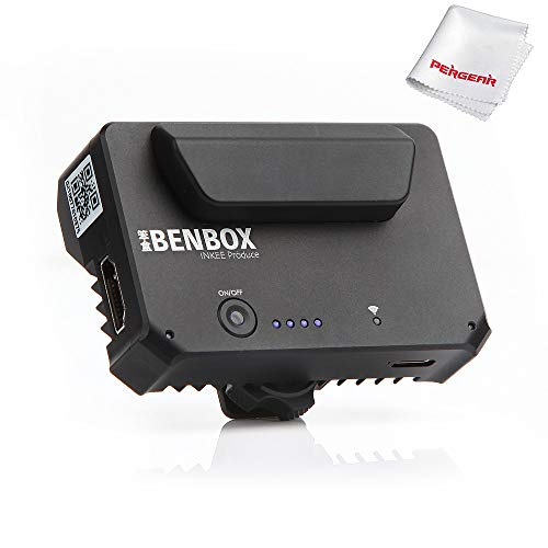 INKEE Benbox Video Transmitter, Built-in Cold Shoe, 2.4G/5G WiFi Wireless Live Transmission to 4 Devices, 1080p WiFi HDMI, 300ft/100m Range, Supports Android/iOS/Windows/Mac, Incredibly Low Latency