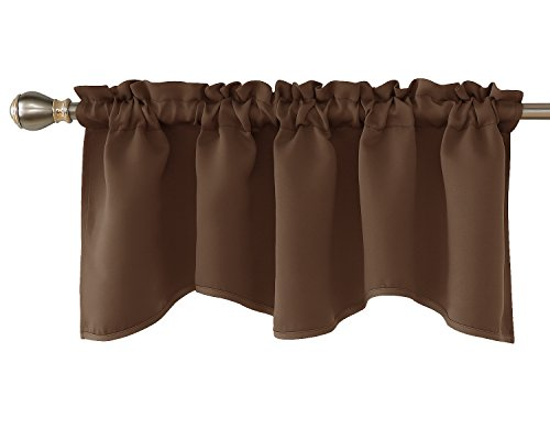 Deconovo Solid Window Dressing Rod Pocket Curtains Blackout Scalloped Valance for Kitchen 42x18 Inch Brown 1 Drape