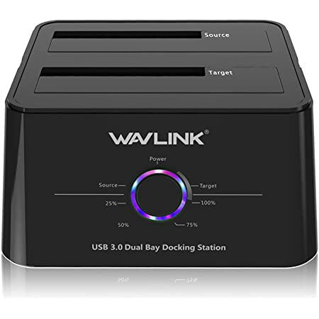 WAVLINK HDDスタンド USB3.0接続 2.5型 / 3.5型 SATA HDD/SSD対応 パソコンなしでHDDのまるごとコピー機能付き 16TB対応 オフラインクローン PSE認定AC12V4A電源アダプター付