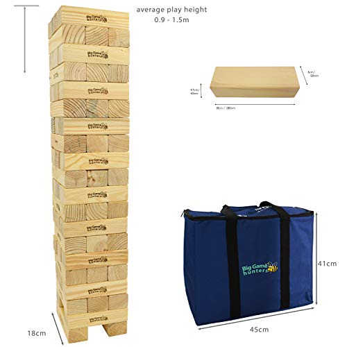 Big Game Hunters Mega Hi-Tower in a Bag - Giant 0.9 Metres Builds Up To A Maximum 2.3 Metres Wooden Tower Block Game
