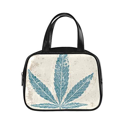 Plsdx Sac de transport pour femme Feuille de marijuana Style grunge Femmes Sac à main Sac à main Filles Pu Poignée supérieure en cuir Cartable Couleur Sac fourre-tout
