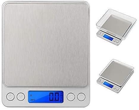 VADIV Balance de Précision 3kg/0.1g, KS01 Mini Balance de Cuisine Électronique Précise à 0.1g Pèse Balance Cuisine Numérique Alimentaire Écran LCD Rétroéclairé avec Fonction Tare et Compte