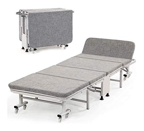 GJX-chair Cama reclinable plegable para invitados, colchón de espuma viscoelástica, fácil almacenamiento para adultos y niños, camping, viajes, hogar, descansar, dormir (color: gris, tamaño: 65 cm)