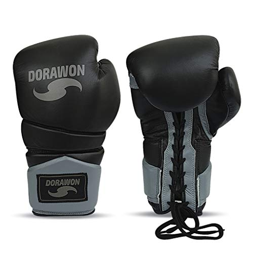 Dorawon Boxhandschuhe, Leder, zum Schnüren, Unisex, Kinder, Schwarz, 8 oz