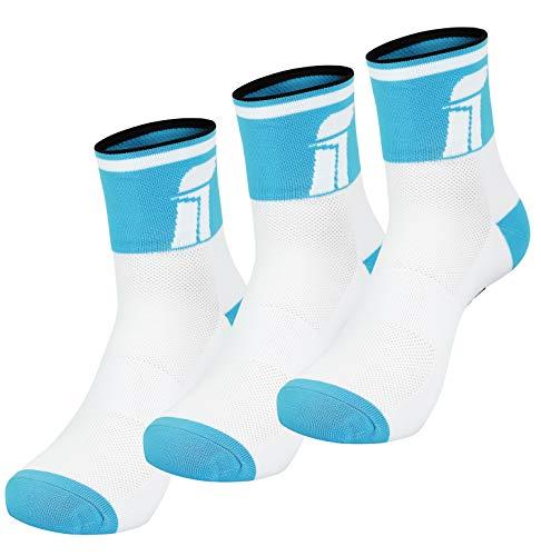Fast Cycles - Confezione da 3 paia di calzini sportivi, traspiranti, per uomo e donna, per mountain bike, spinning, fitness, tennis, jogging e corsa, colore: blu/bianco