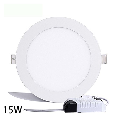 Round Ceiling Light,Hann Ultra-thin Recessed Downlight Lamp,LED Bathroom Bedroom Lighting Fixtures 15W 1200lm,4000K,100W Incandescent Equivalent,Cut Hole 7.1 Inch,AC100-120V,with LED Driver